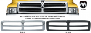 Grille Shells and 4MM Billet Grilles - Models without Sport Package