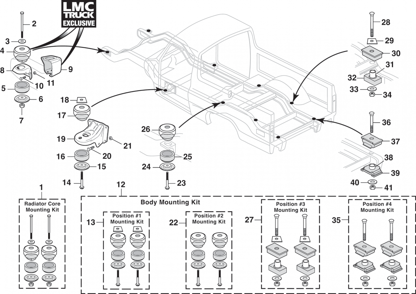 Body to Frame Mounting Hardware and Radiator Core Support