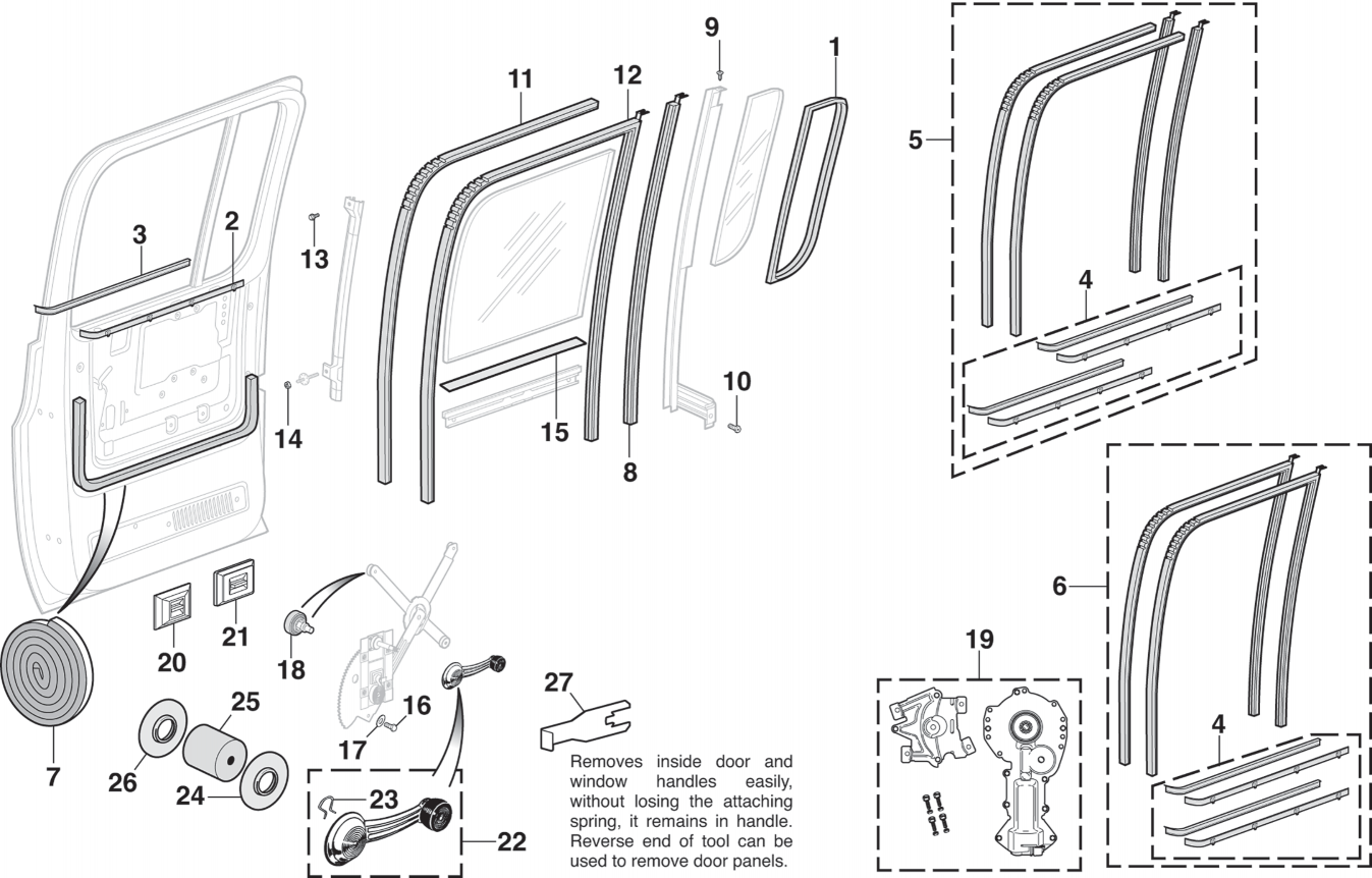 Rear Door Glass and Components