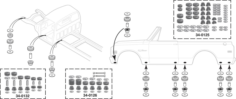 Polyurethane Cab Mount Bushing Set