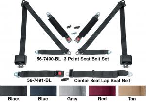 3 Point Retractable Seat Belt Set