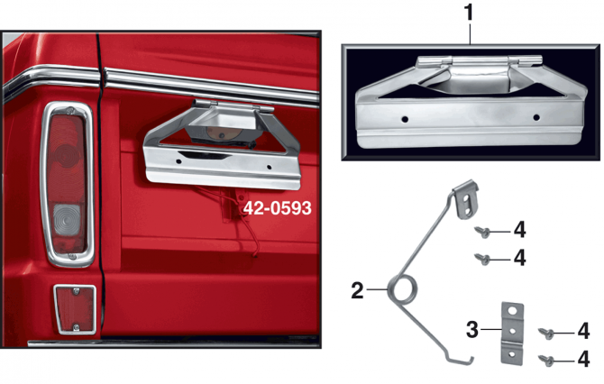 License Plate Bracket Assembly - Polished Stainless Steel