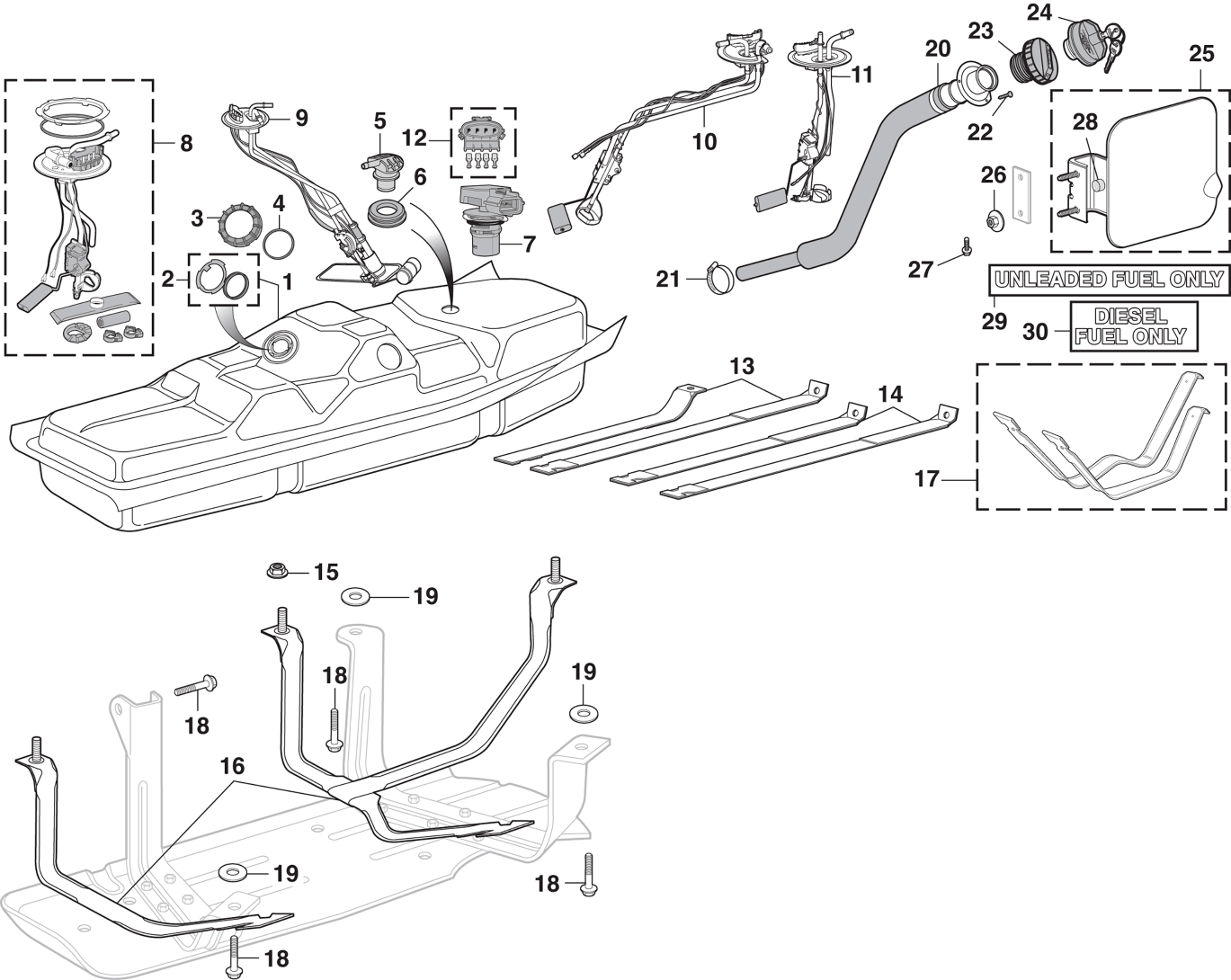 Side-Mounted Gas Tank and Components