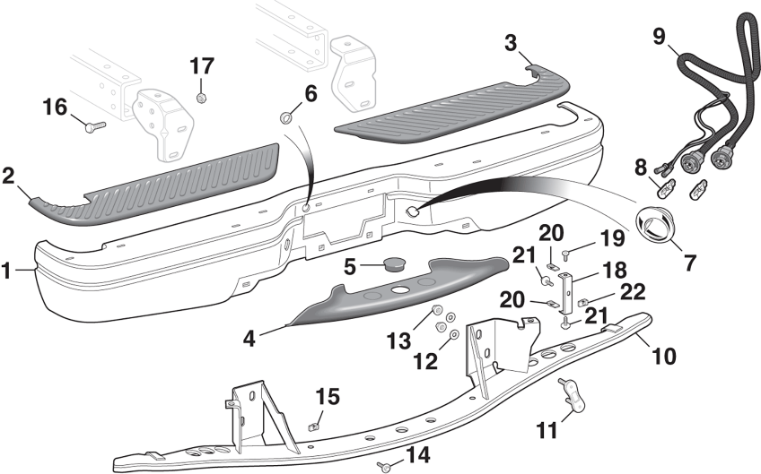 Styleside Rear Step Bumper and Components