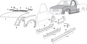Front Steel Body Parts and Cab Repair Panels
