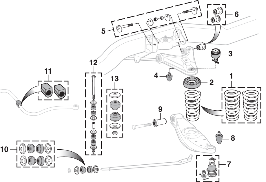 Front Suspension And Sway Bar Components