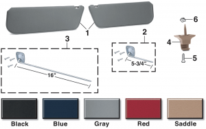 Reproduction Sun Visor and Brackets