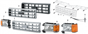 Reproduction Grilles and Headlight Assemblies