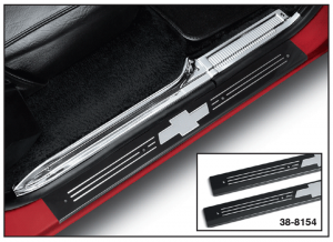 Black Aluminum Front Threshold Plate Set with Bowtie