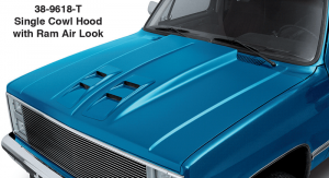 1981-91 Single Cowl Hood with Ram Air Look