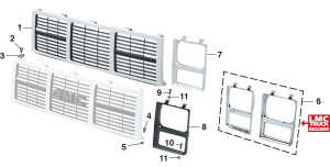 Grille and Components - With Single Headlights
