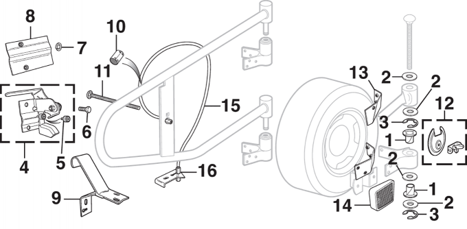 Swing-Away Spare Tire Components