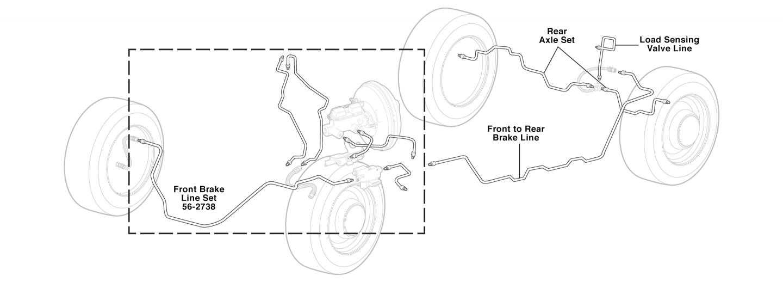 All ABS 02-05 Ram 1500; 2WD Quad Cab Short Bed; Brake Line Set; Steel
