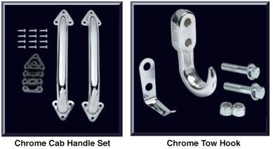 Chrome Cab Handle Set and Tow Hook
