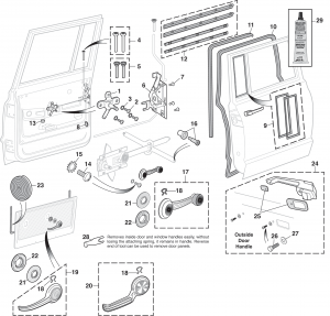 Right-hand Side Rear Door Components