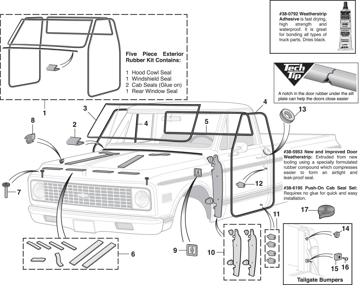 Set of 4 1970 Chevy Truck Rubber Door Bumpers