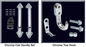 Chrome Cab Handle Set and Tow Hook