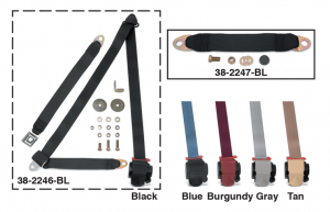1973-91 3 Point Retractable Seat Belt Kit and Seat Belt Extender