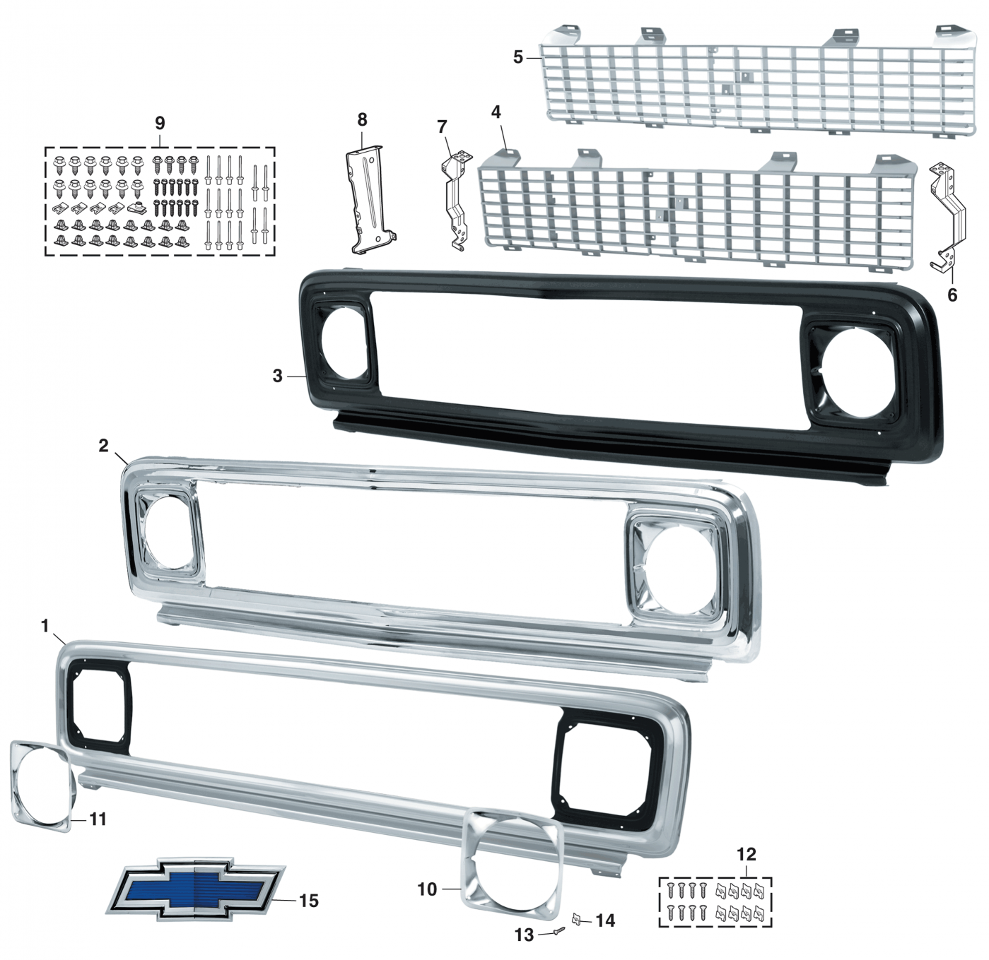 1971-72  Grille For Chevrolet