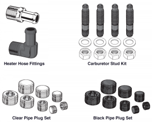 Heater Hose Fittings, Carburetor Stud Kits and Pipe Plugs