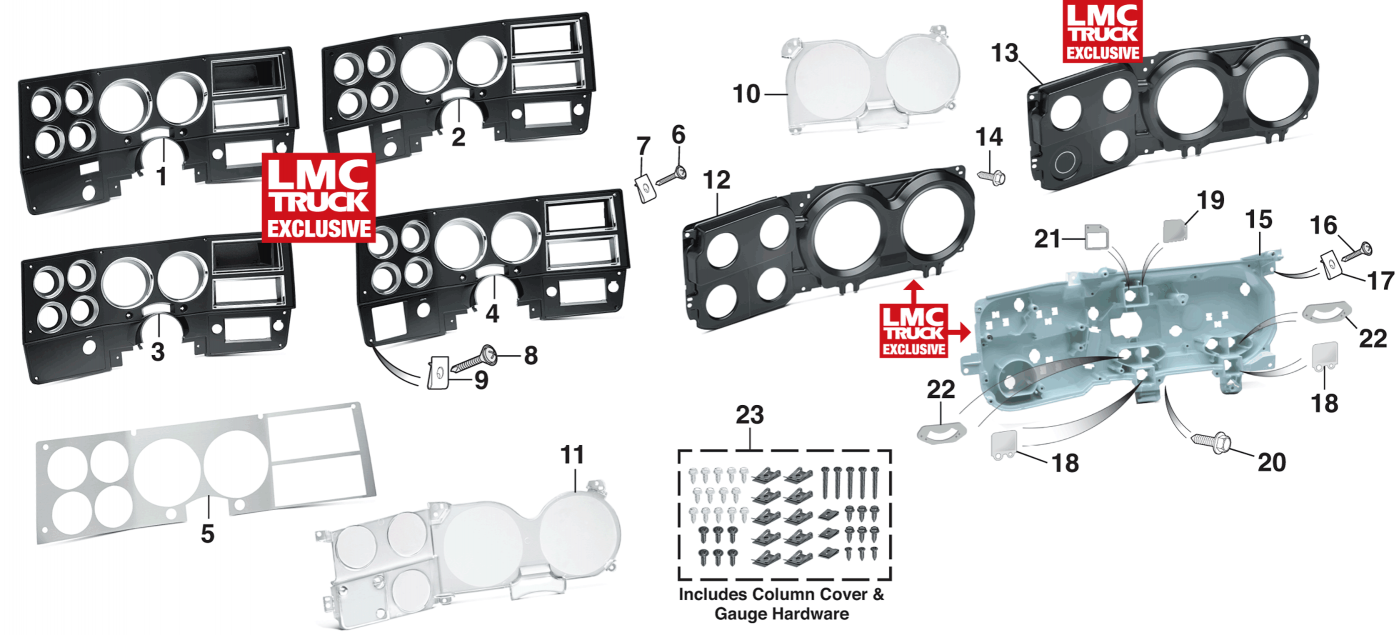 1981-89 Dash Bezels and Components