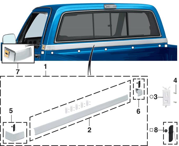 1981 91 Cab Back Panel Molding