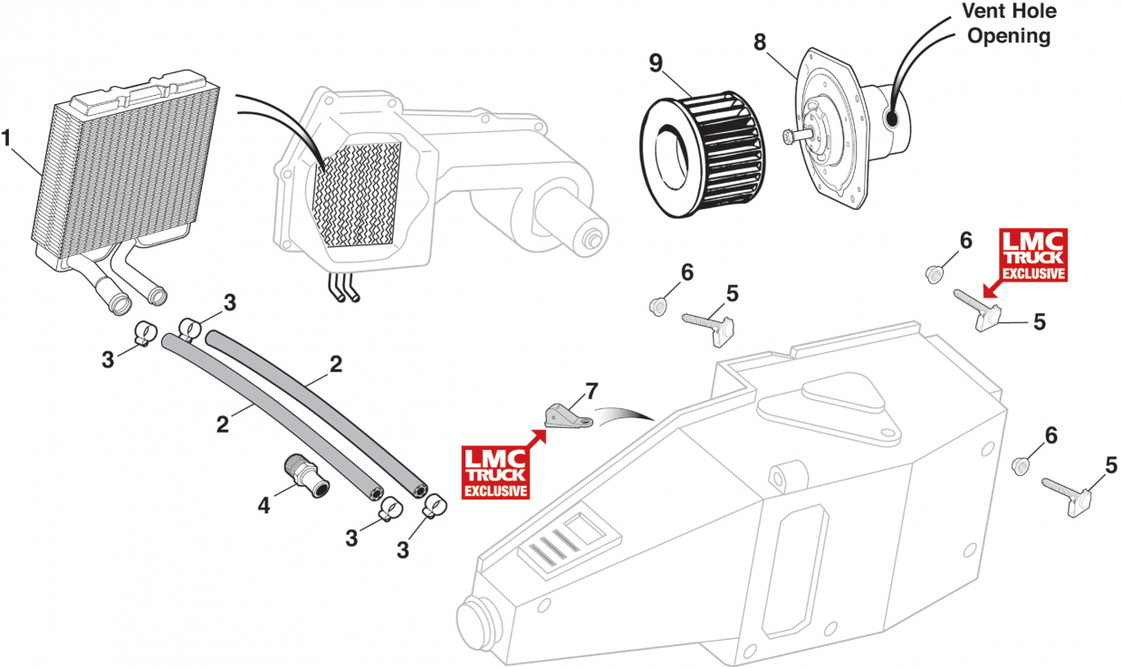 1973-89 Heating Core & Blower Motor Parts