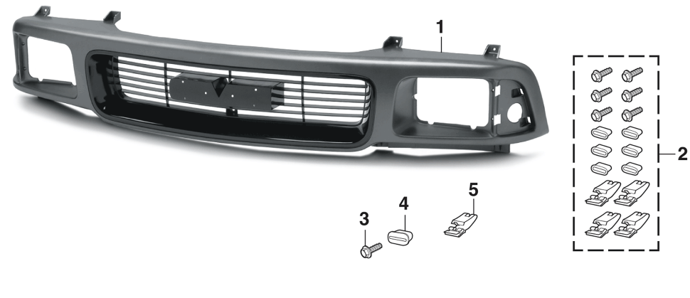 Grille and Components with Sealed Beam Headlights for GMC