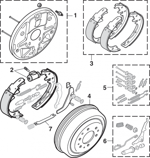 Rear Drum Brake Components