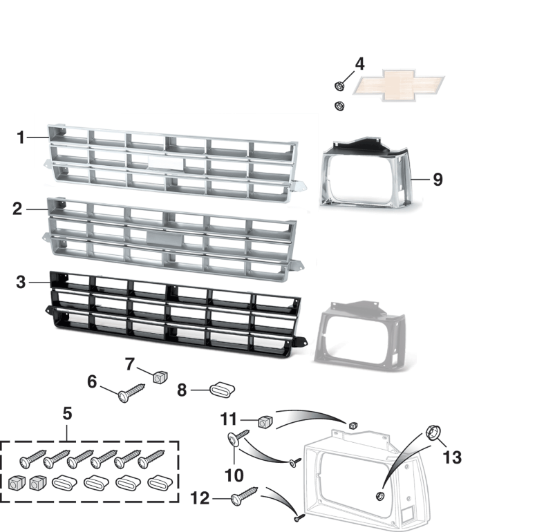 Grille and Components for Chevrolet