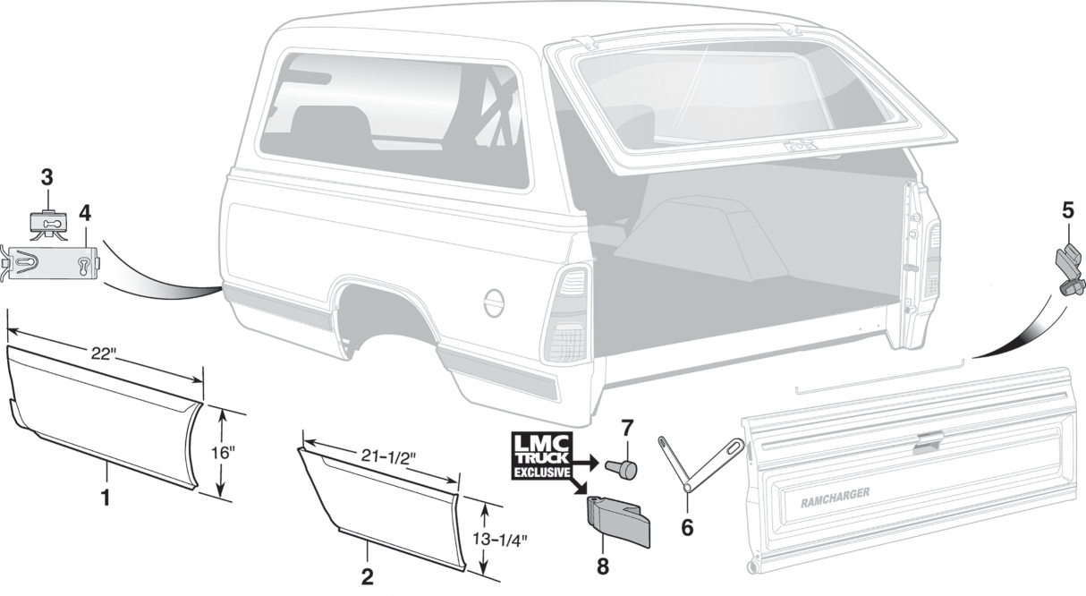 Quarter Panel and Tailgate Components