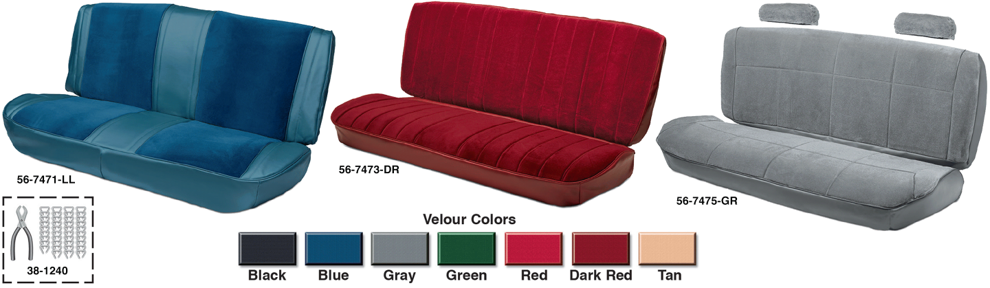 Velour Bench Seat Reupholstery Kits