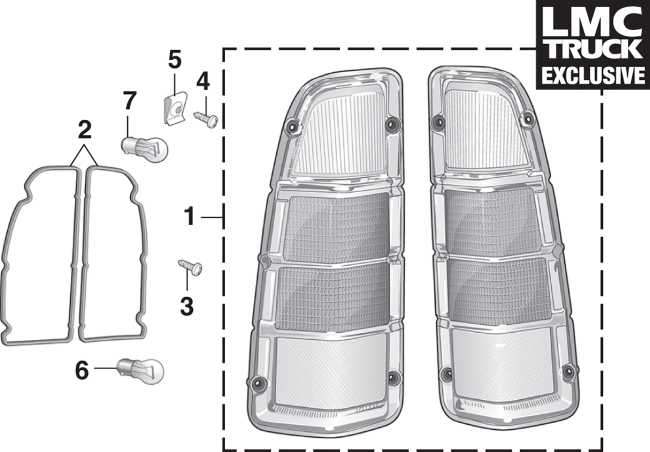 Tail Light Lens Set - without Stepside