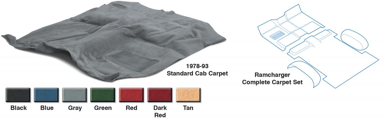 1975-1980 Dodge W200 Reg Cab 4WD Complete Cutpile Replacement Carpet Kit