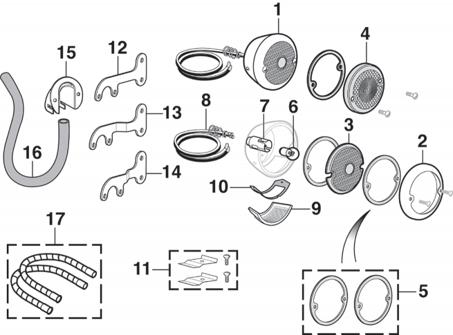 Tail Light Components - Round Style