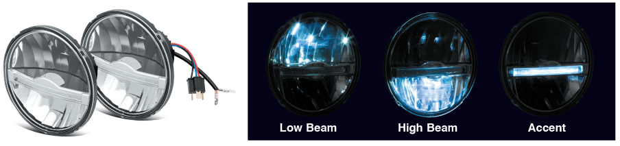 LED Headlights with Accent Lights