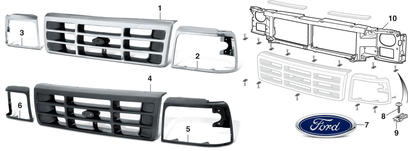 Reproduction Grilles and Headlight Bezels