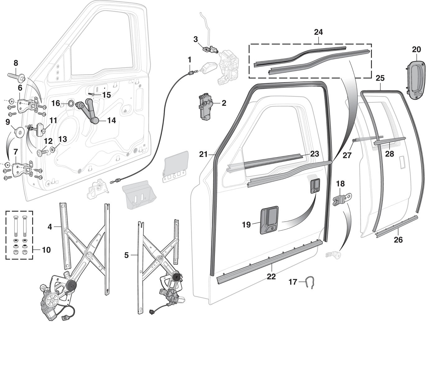 Motors Left Driver Upper and Lower Rear Side Latches Assembly ...