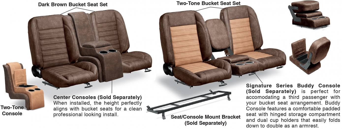 1973-87 LMC Signature Series Front Bucket Seat Sets & Center Console