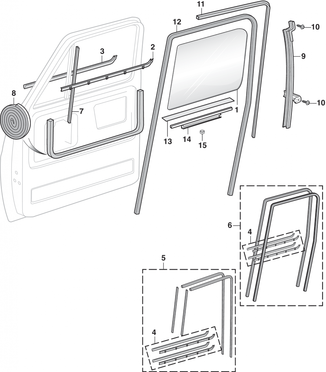 1973-91 Front Door Glass and Components
