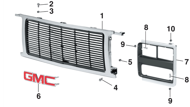 1989 Grille and Components - With Dual Headlights