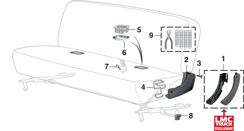1973-91 Front Bench Seat Components