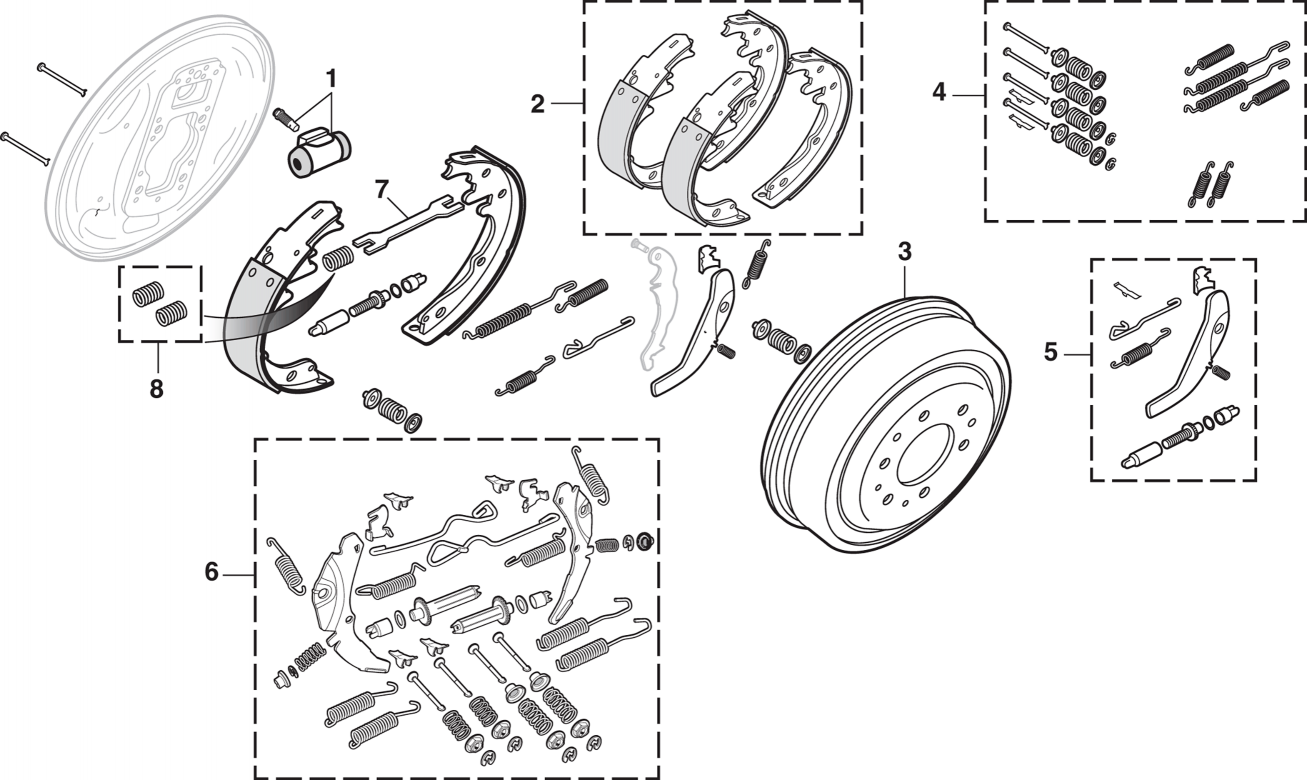 4WD Rear Drum Brake Components