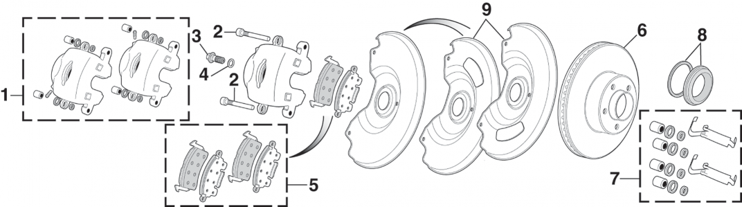1973-89 Front Disc Brake Components