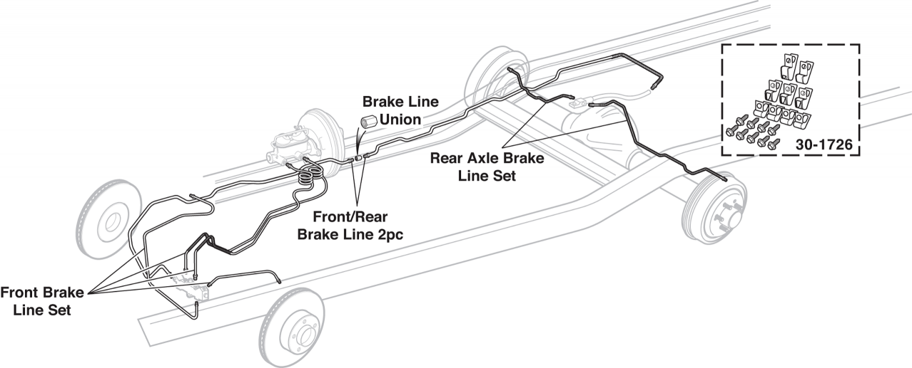 1973-89 Pre-Bent Original Material Brake Lines 2WD
