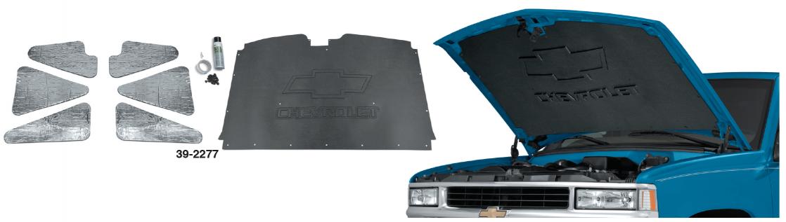 """Hood Insulation Pad 1//2/"""" for 1988-98 Chevrolet Full Size Trucks Gray//Black"""