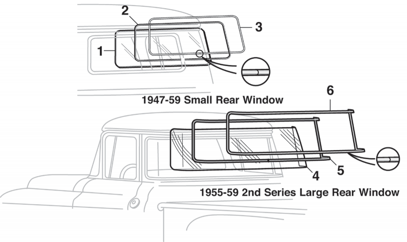 Single Rear Window Glass and Seals