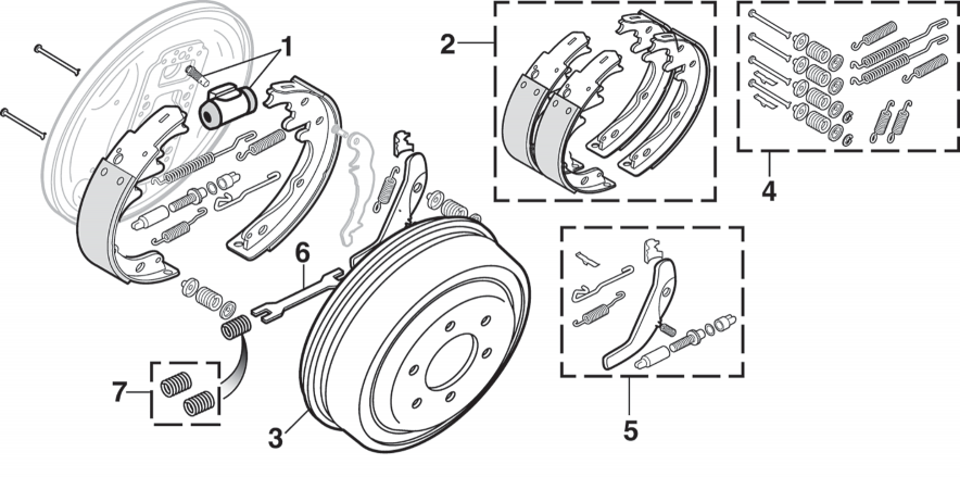 2WD Front and Rear Drum Brake Components