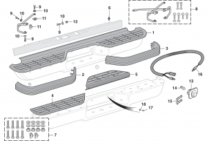 Rear Bumper Components - Models without Denali Package