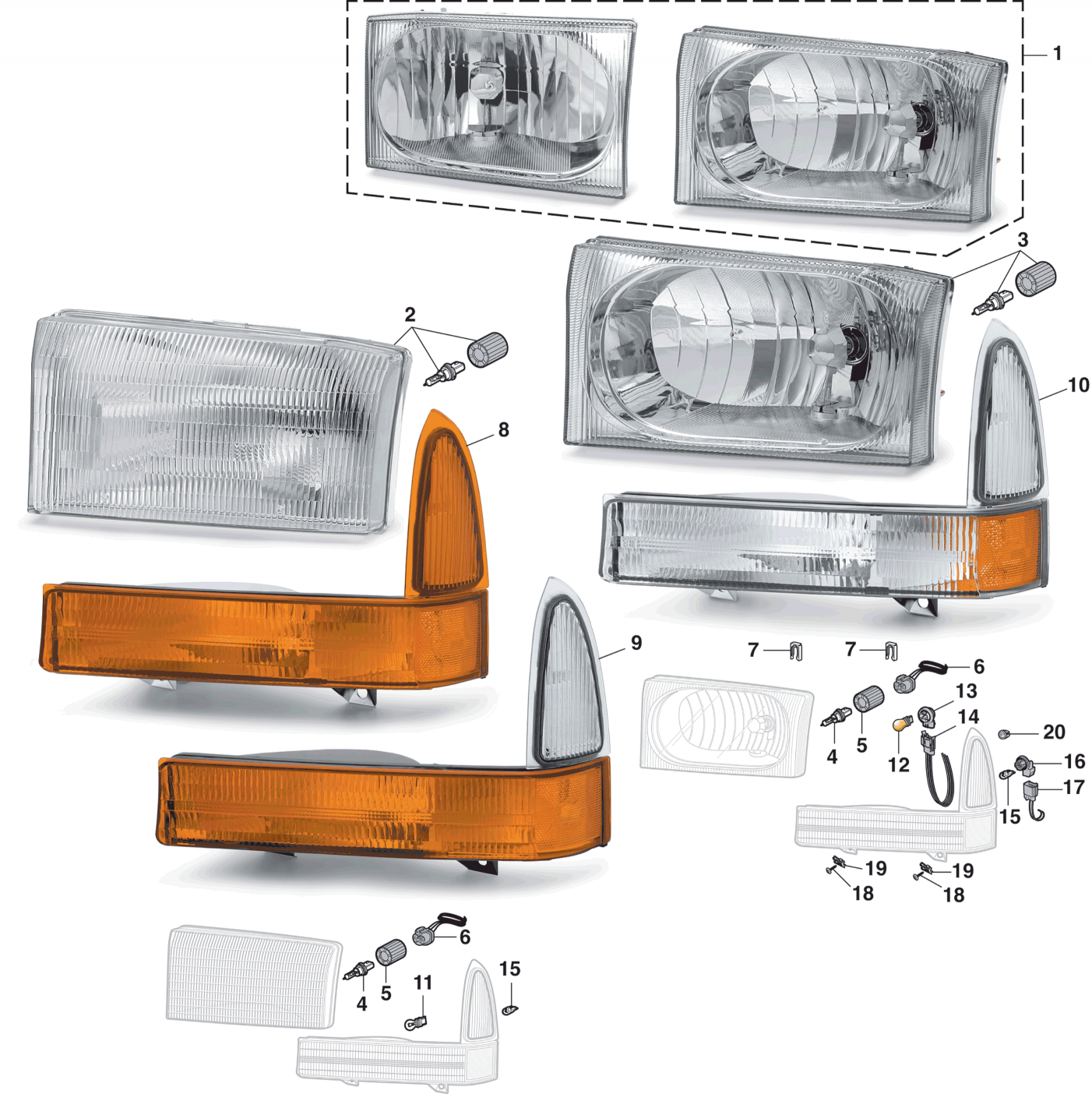 Headlight and Parklight - With Composite Style Headlights